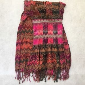 Baba Accessories - boho geometric multi color knit scarf w/ fringe